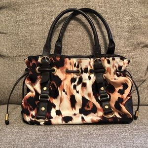 Adrienne Vittadini cheetah print brown leather bag